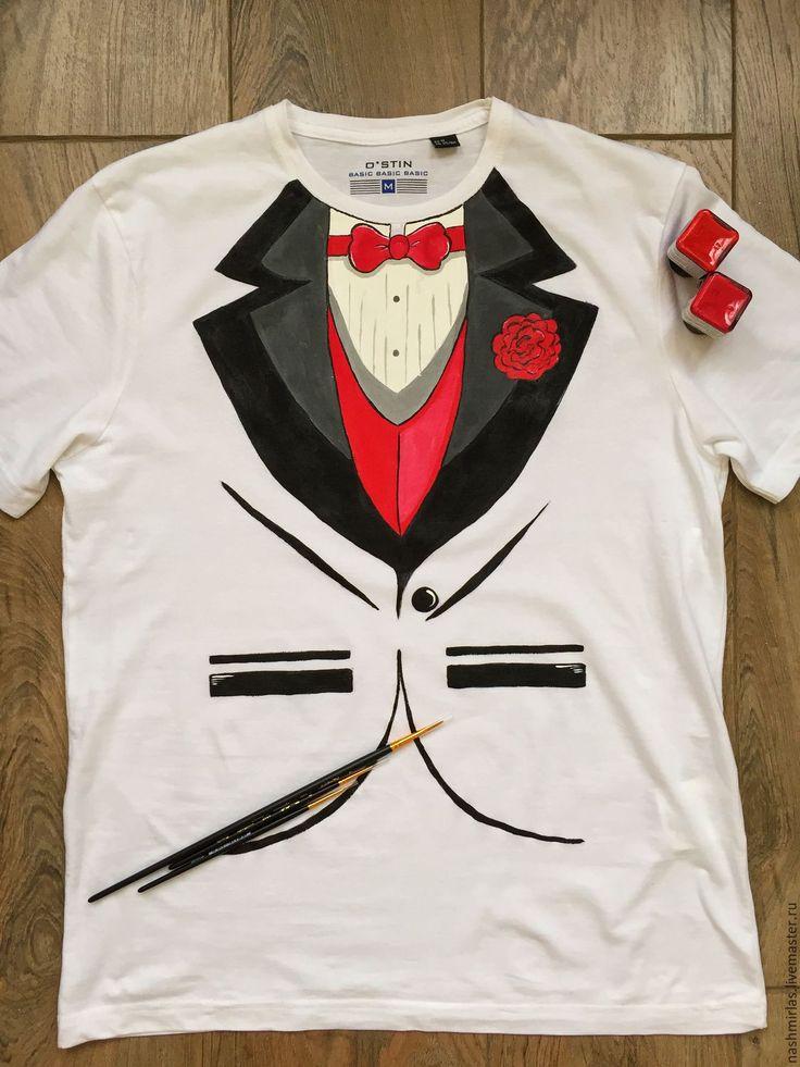"""Купить Мужская футболка """"Костюм"""" - белый, костюм, смокинг, мужская футболка, роспись по ткани"""