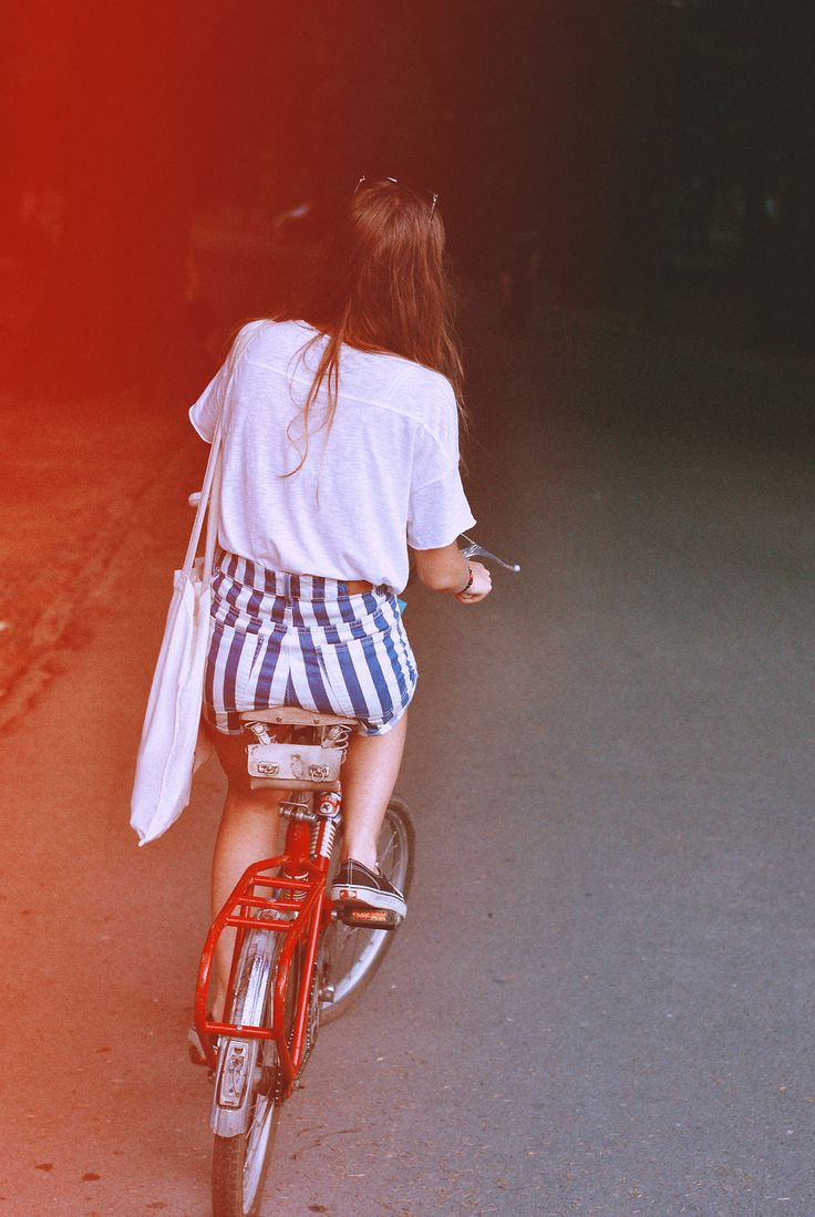 Casual high waist blue and white stripe shorts and shirt . Bike