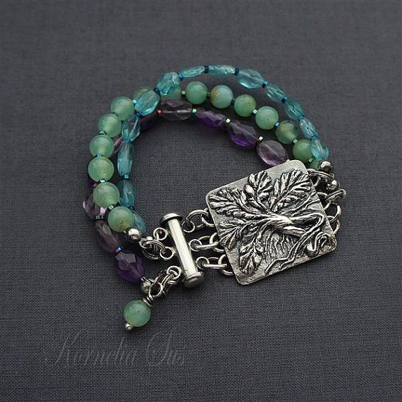 Meadow and forest - Mandrake - silver bracelet with chrysophrase, amethyst and apatite, pmc jewelry, fine jewelry, unique, for her