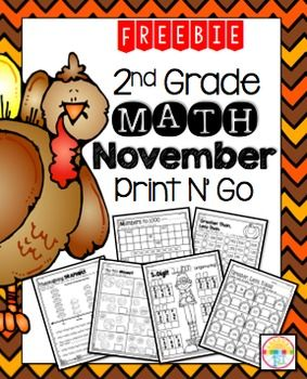 Here's a cute freebie to help you through November Enjoy! If you enjoy this, please check out the full packet: November 2nd Grade Print N' Go