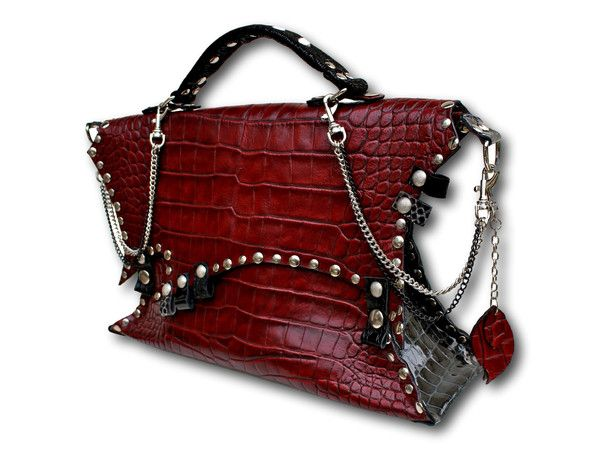 Handmade leather bag (red)