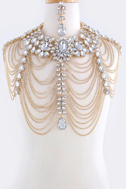 Luxury Wedding Jewelry Long Crystal Necklace Chain Bridal Shoulder Strap Bijouterie Body Chain Jewelry Accessories