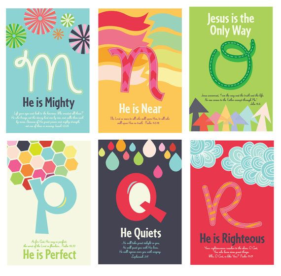 This would be so awesome to have in the nursery at church! Or in my own kids' playroom for that matter!!! Wish they shipped to Canada :( Christian Kids Scripture Art Prints ABC's of God by carsonology