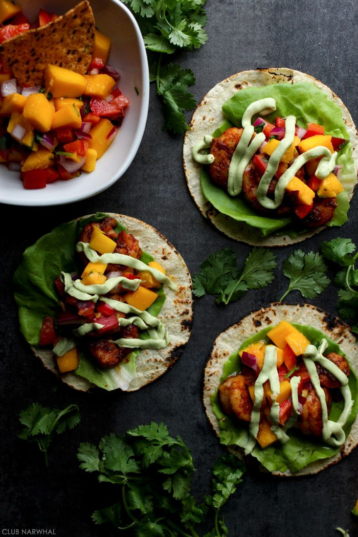 Blackened Shrimp Tacos with Avocado Crema and Mango Salsa // Club Narwhal