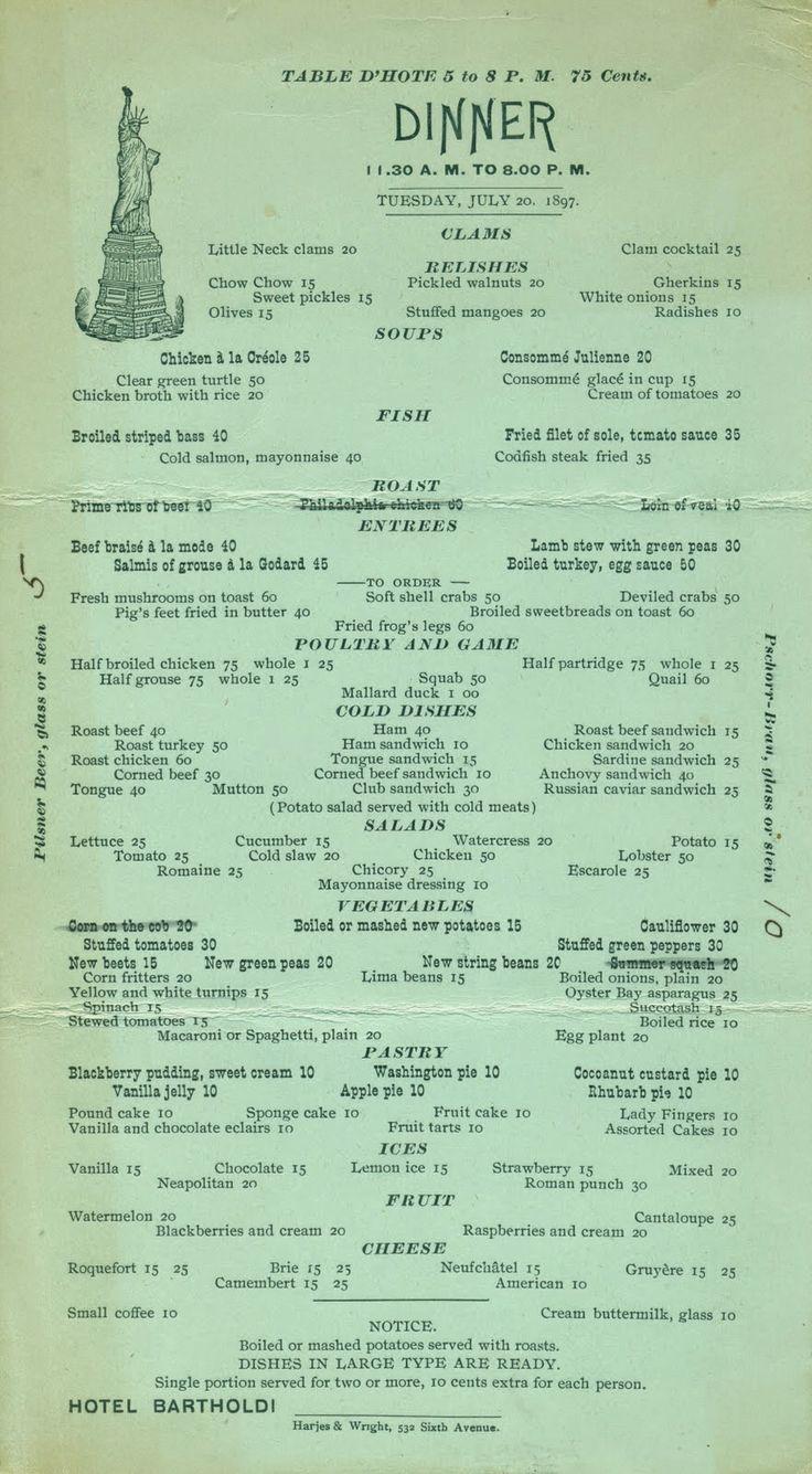 Vintage Restaurant Menu Prints - Stampe Vintage di Menu