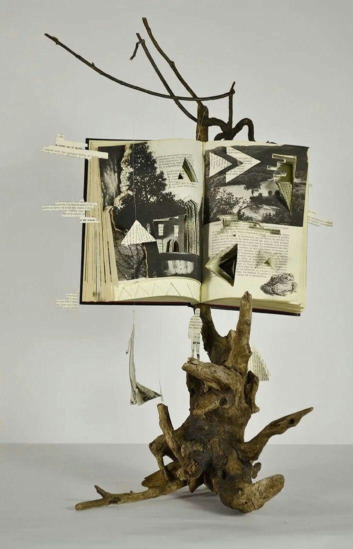 Virginie Guilbault, driftwood, book sculpture, 2016