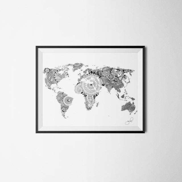 J.ELMING ILLUSTRATIONS aims to make art available for everyone by offering unique and easygoing pieces to reasonable prices MANDALA WORLD MAP DRAWING