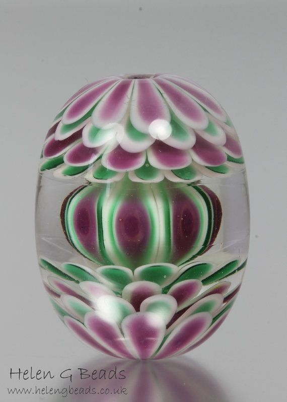 teal and pink carousel lampwork focal bead handmade by helengbeads
