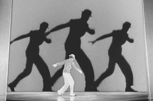 "Fred Astaire in the ""Bojangles of Harlem"" number from Swing Time (George Stevens, 1936)  via maudit: The shadow dance idea occurred to choreographer Hermes Pan and Fred Astaire during rehearsals, when three different light sources illuminated Astaire producing three shadows. (x)"