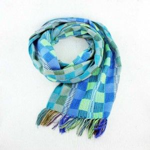 Blue and Green Woven Scarf - Handwoven on a wooden loom. Fair trade.