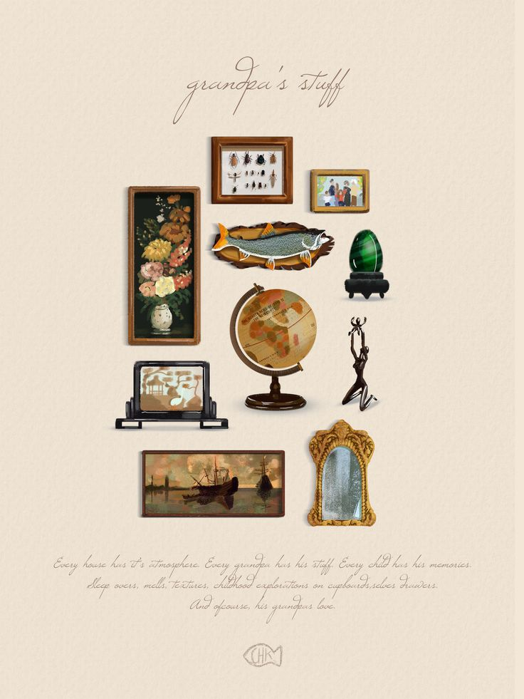 cute illustration post card to grandpa, paintings and mirror bug collection