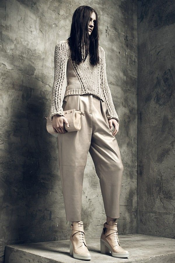 Alexander Wang Resort 2013 Knitwear -- like the use of 2 different gauges!