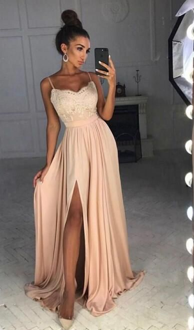 Simple A-line Long Prom Dress With Slit School Dance Dress Fashion Winter Formal Dress YDP0289
