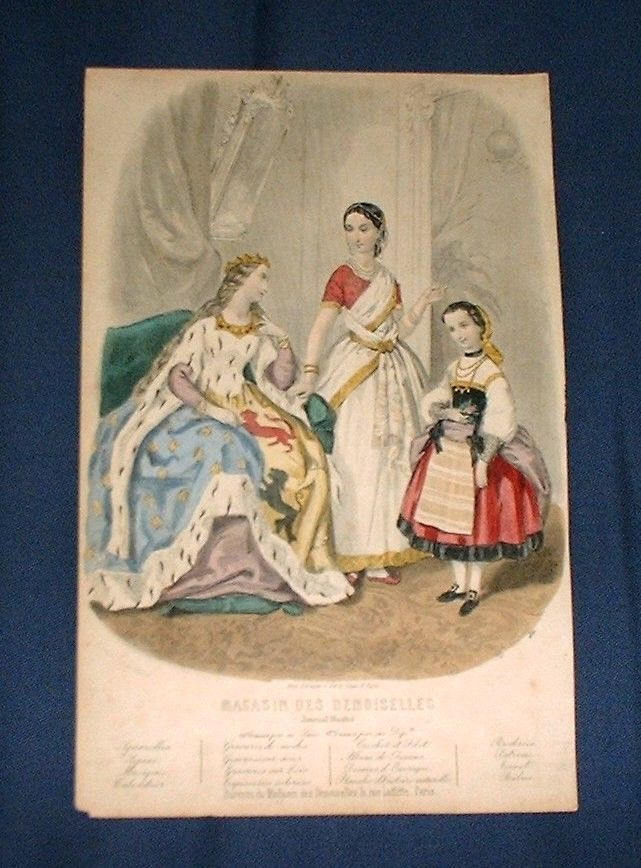 """1860s French Fashion Print Fancy Dress Costumes Medieval Queen Sari Peasant 