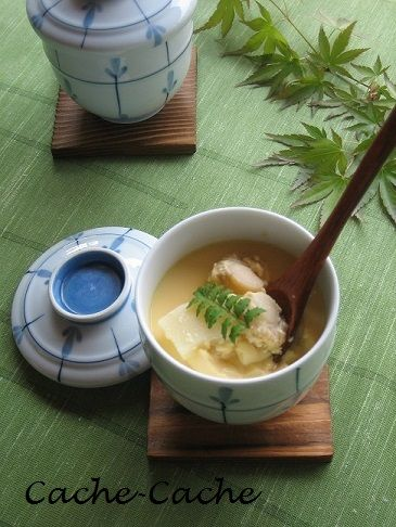 Chawanmushi with Bamboo Shoots and Scallops 筍とホタテの茶碗蒸し | Cache-Cache+