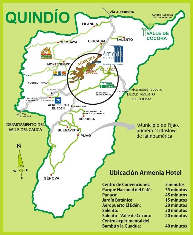 Quindío | Turismo Eje Cafetero - Mapa del Quindío.