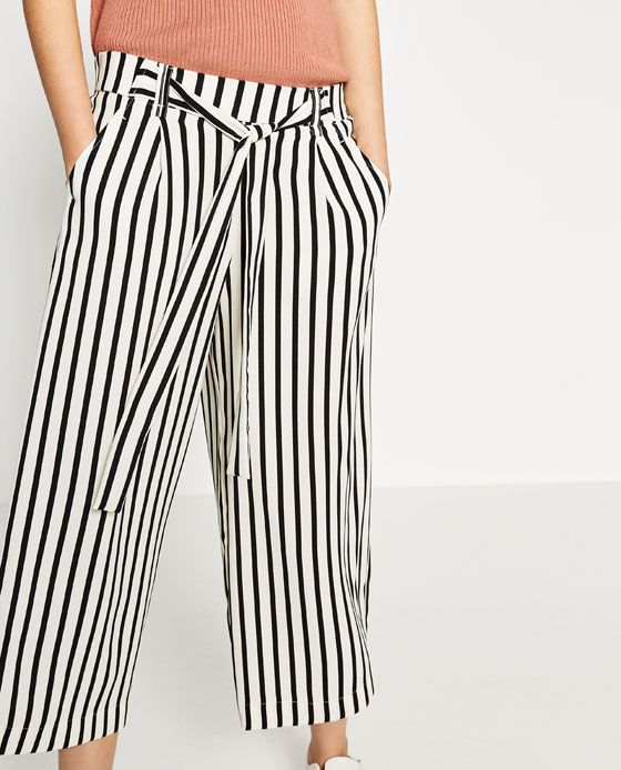 CROPPED FLOWING STRIPED TROUSERS from Zara