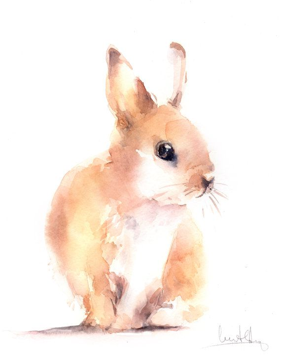 Original Watercolor Painting of Bunny Rabbit by CanotStop on Etsy
