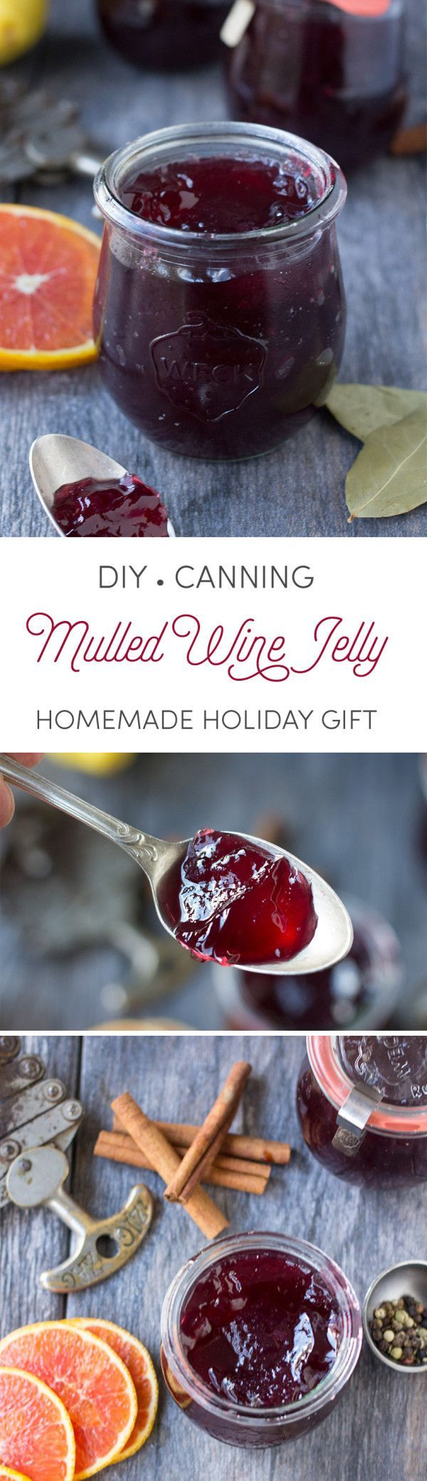Mulled wine jelly makes such a thoughtful and lovely gift. Ruby red and gorgeous, eat this jelly with soft cheeses, on burgers, or as a topping for chocolate or vanilla ice cream!