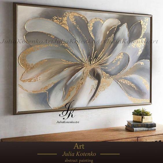 Flower Painting, Gold Leaf Art, Wall Art, Canvas art, Oil painting, Textured painting, Paintings on Canvas Original by Julia Kotenko