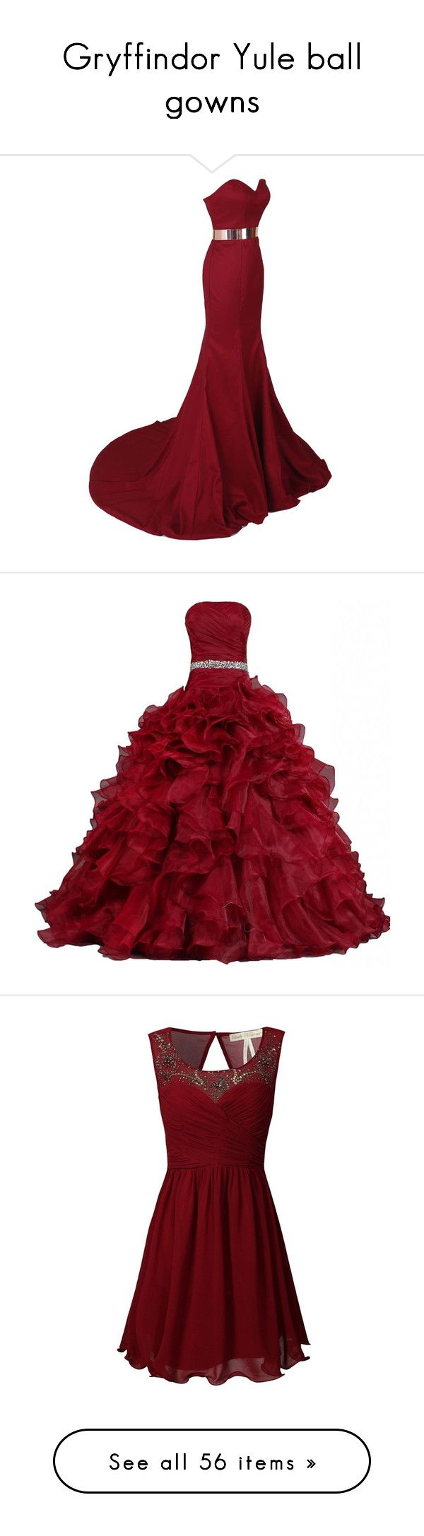 """Gryffindor Yule ball gowns"" by weeby ❤ liked on Polyvore featuring fans, dresses, gowns, long dresses, vestidos, vestidos longos, long red dress, red ball gown, satin evening gown and masquerade ball gowns"
