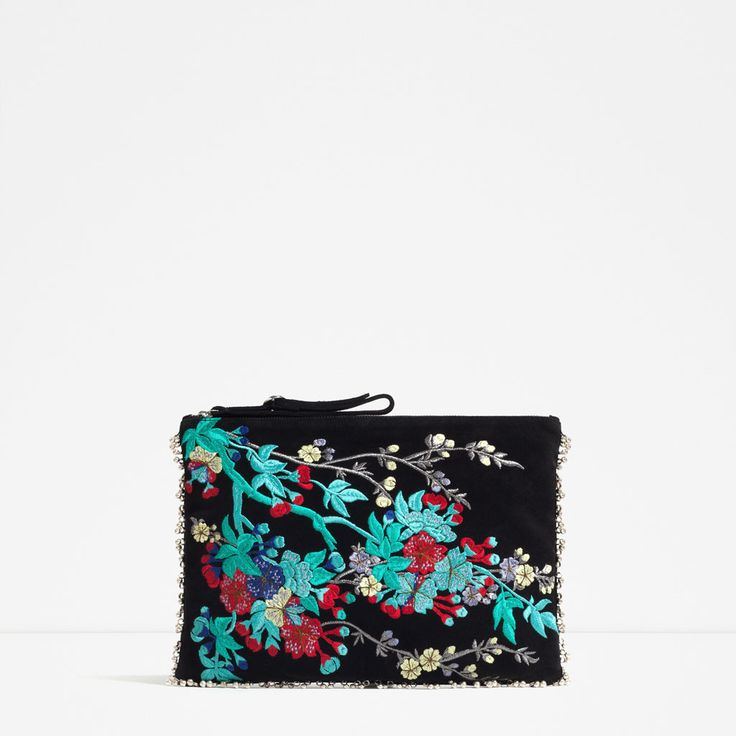 Image 2 of EMBROIDERED LEATHER CLUTCH from Zara