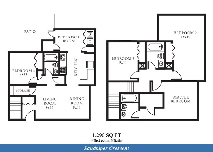 Jeb little creek fort story sandpiper crescent for Townhome floor plans