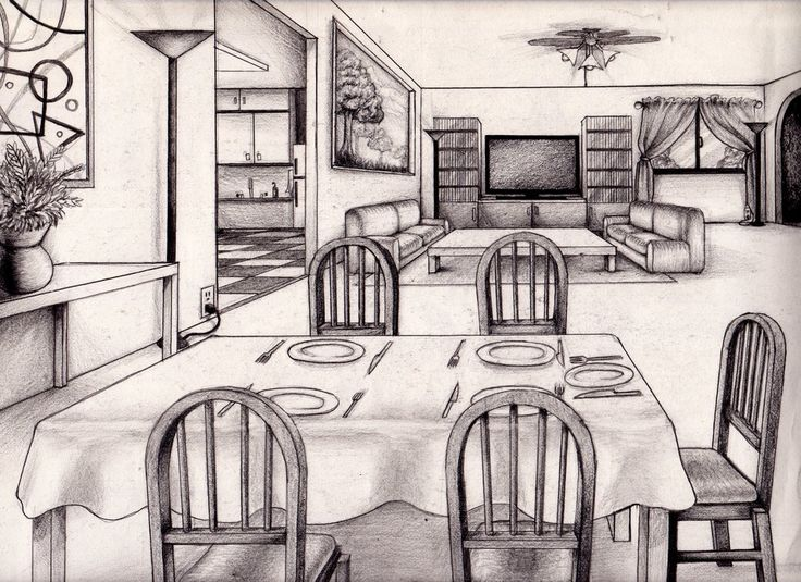 634 best images about perspectief on pinterest - Two point perspective living room ...