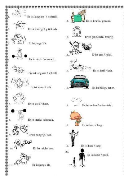 Gegenteile von Adjektiven
