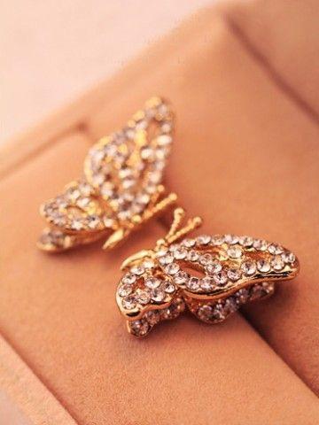 Dainty Butterfly Rhinestone Studded Earrings