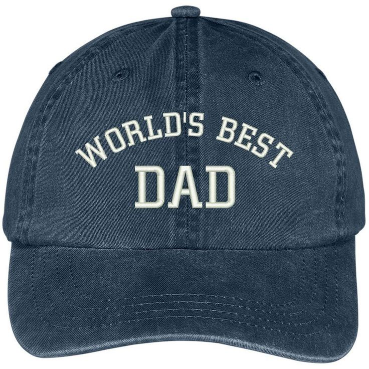 Worlds Best Dad Embroidered Pigment Dyed Low Profile Cotton Cap Navy Gift Daddy #NAVY #DadHat