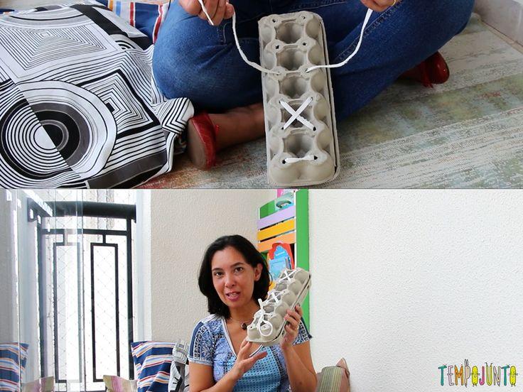 Aprender a dar o laço no cadarço pode ter uma ajudazinha de um brinquedo caseiro muito fácil de fazer com caixa de ovos
