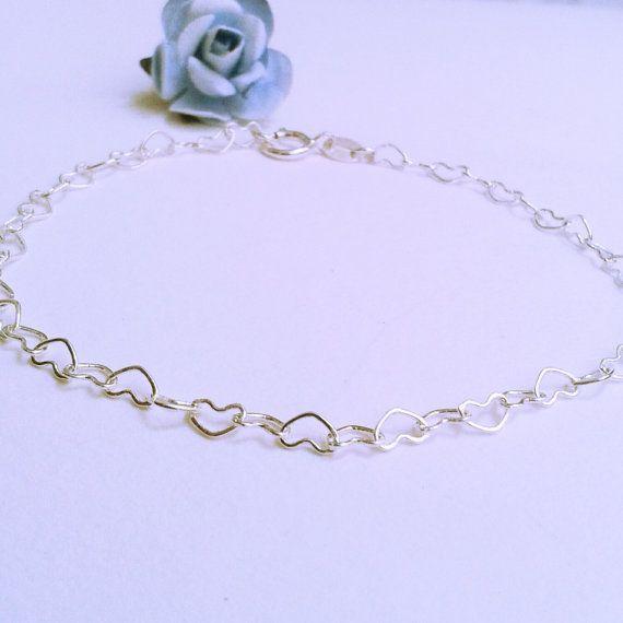 Bracciale con catena a cuori in argento 925