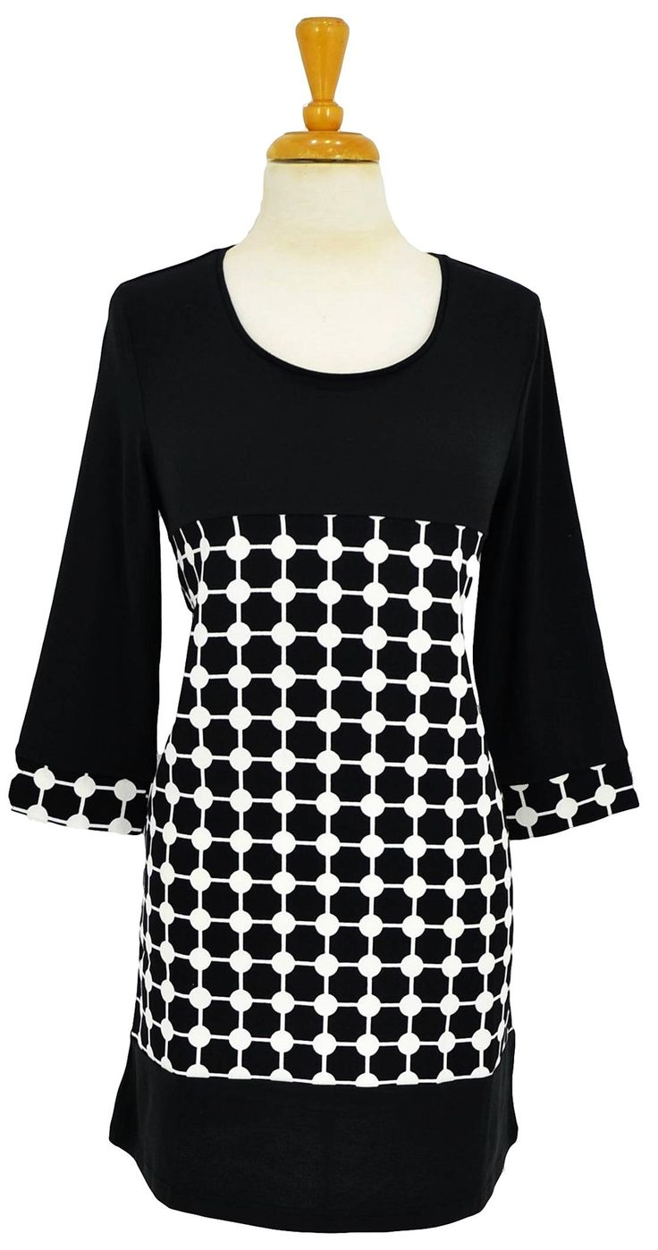 Black White Circle Tunic~ Best selection of Tunics & matching accessories ~ Flat postage worldwide ~ Petite to Plus sizes ~ www.ilovetunics.com