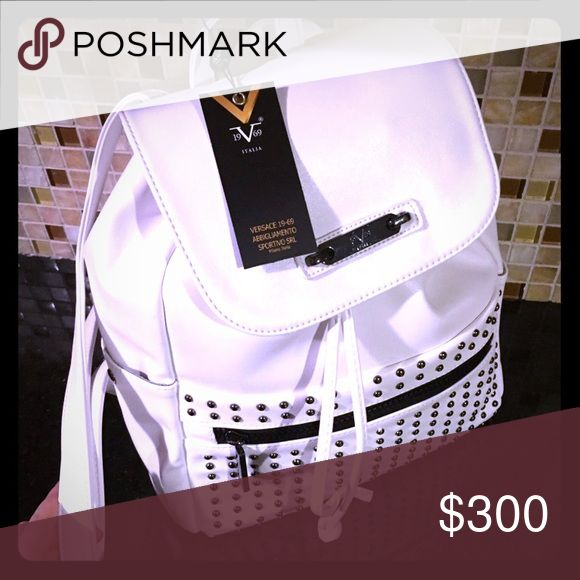 White leather Versace backpack ...structured backpack that is the perfect collusion between elegance and sport. Love it so much, but i just cannot keep white bags / clothes/shoes, unfortunately Versace Bags Backpacks
