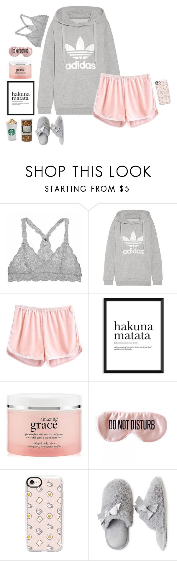 """sundayze"" by silver-sparkles ❤ liked on Polyvore featuring adidas Originals, philosophy, BaubleBar, Casetify, Dearfoams and The Hampton Popcorn Company"