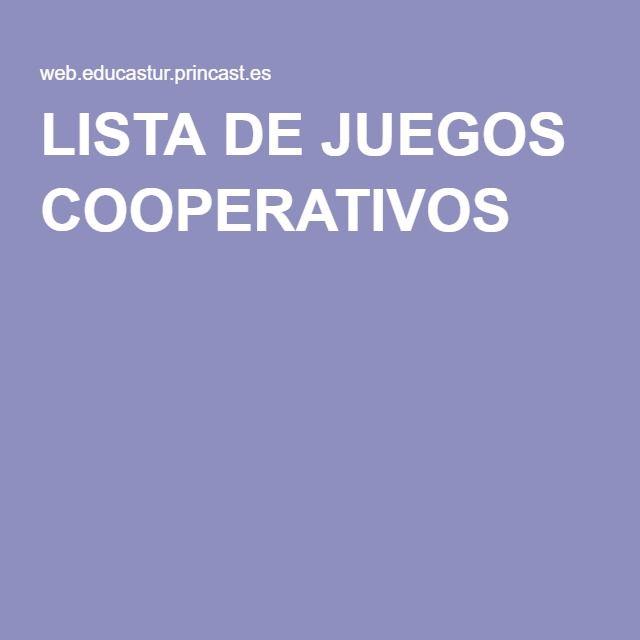 LISTA DE JUEGOS COOPERATIVOS