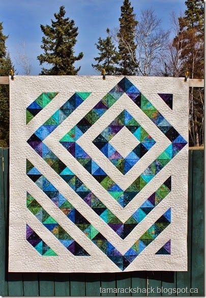 Beautiful quilt with instructions on easy way to do split hst