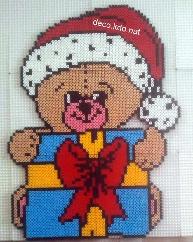 Teddy Christmas hama perler beads by deco.kdo.nat