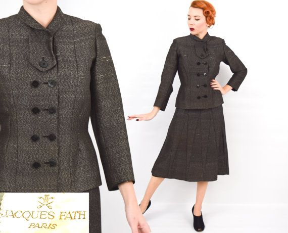 Jacques Fath 40s 50s Charcoal Grey Suit   by GlennasVintageShop