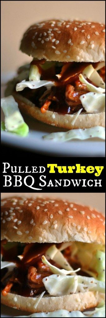 Got leftover turkey? You won't BELIEVE how delicious this Pulled Turkey BBQ Sandwich is!  Homemade slaw, homemade BBQ sauce and ready in under 30 minutes!!!!!
