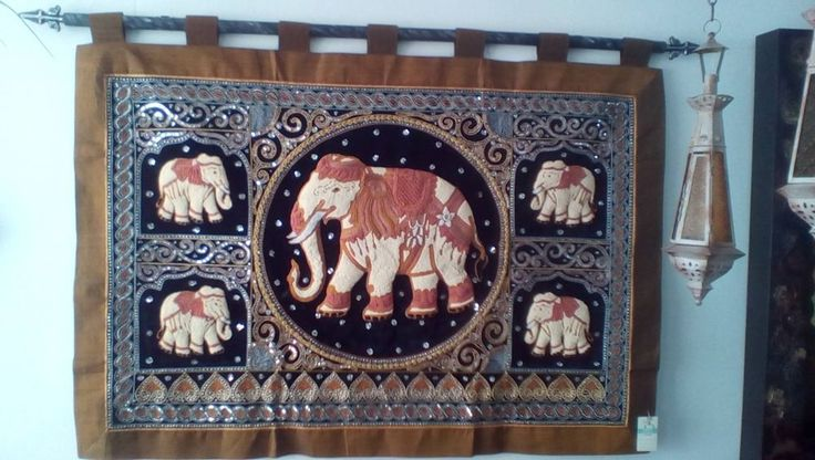 Wall Art Thai Kalaga Tapestry Elephants Hand embroidered Bohemian Decor  #AsianOriental