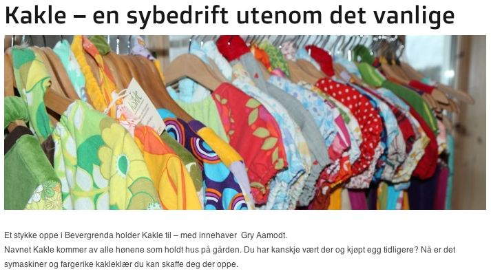 Artikken om Kakle på kongsberg.no http://www.kongsberg.no/ukategorisert/kakle-en-sybedrift-utenom-det-vanlige/