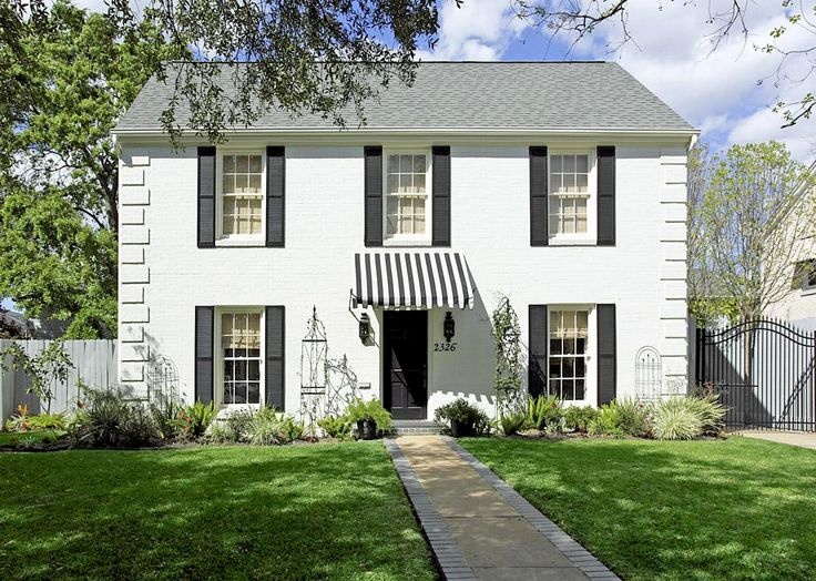Classic Exterior ... White House with Black Roof and Shutters and Striped Awning . & 14 best Residential Awnings canopies images on Pinterest | Shade ...