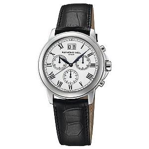 Raymond Weil men's chronograph leather strap watch - Ernest Jones