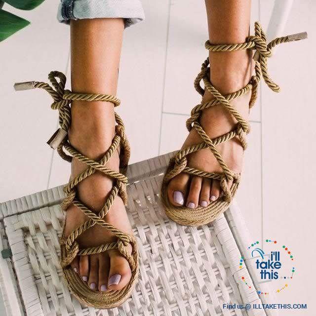 Natural Hemp Rope Style Women S Flat Sandals Flip Flops 6 Color Options 10 Brown In 2020 Womens Summer Shoes Womens Sandals Flat Summer Shoes