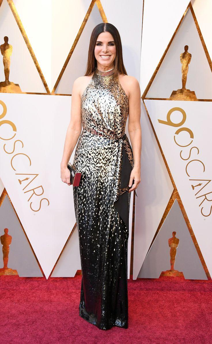 2018 Oscars - Sandra Bullock in Louis Vuitton and Zac Posen with Lorraine Schwartz jewelry