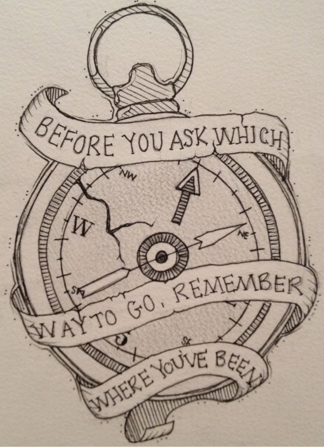 change text: If you don't know where to go, every way is right .... Not the compass/watch, just the quote
