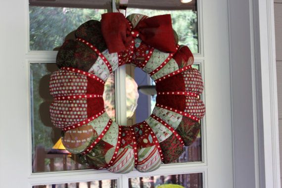 Large Patchwork Stuffed Fabric Christmas Wreath Christmas Wreaths Wreath Designs Wreaths