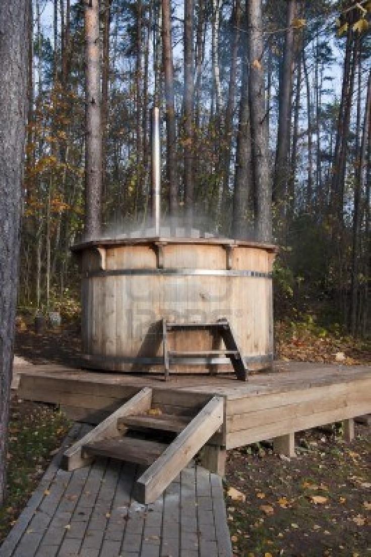 wooden bathtub outside